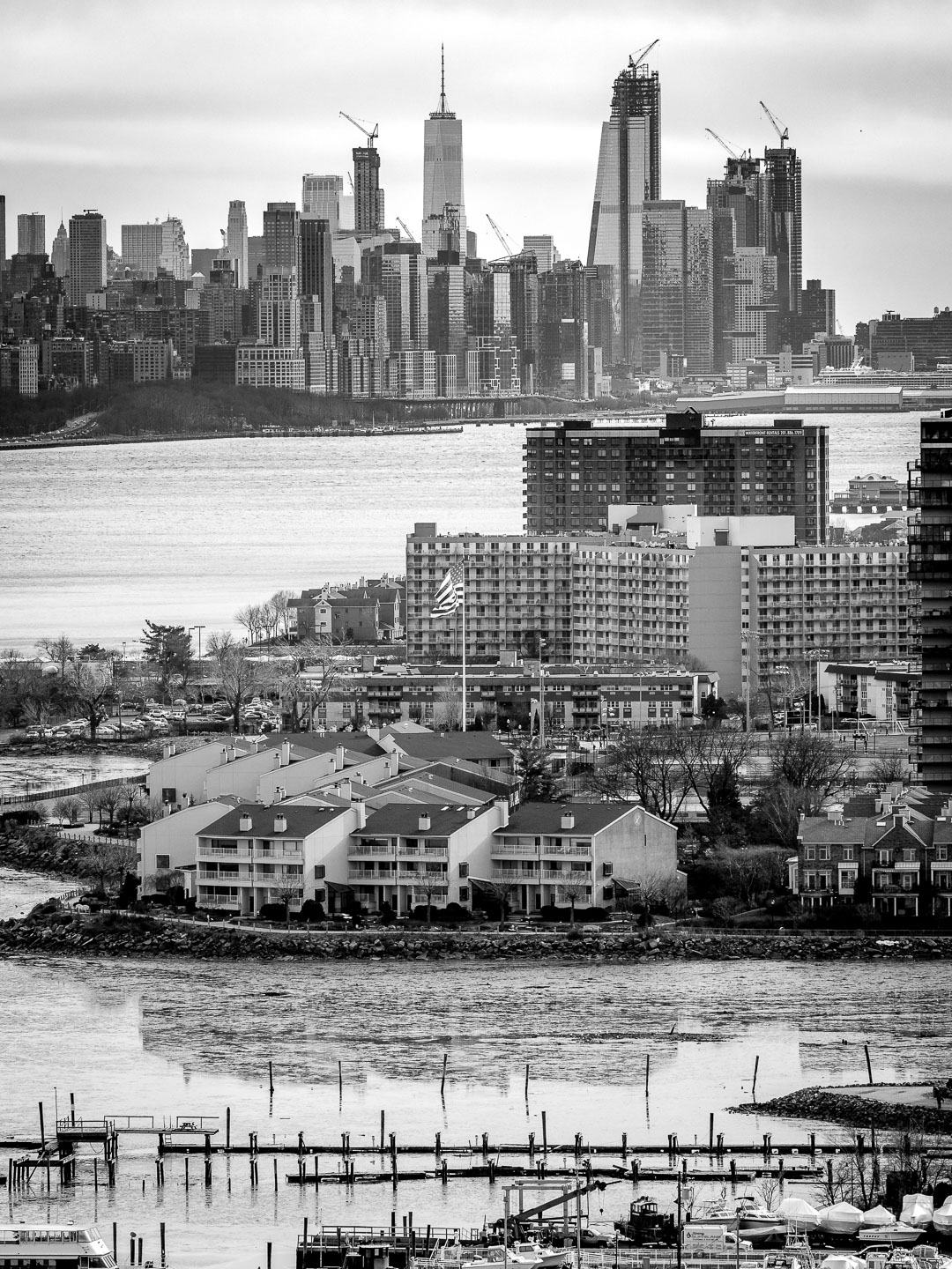 A New Jersey Harbor in front of New York's skyline